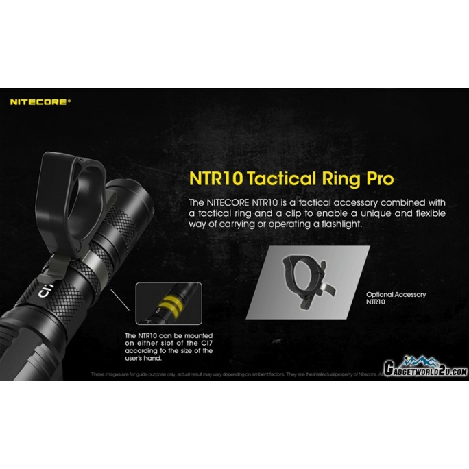 Nitecore NTR10 Tactical Clip-on Ring Pro for NEW P12 P22R CI7 etc Flashlights