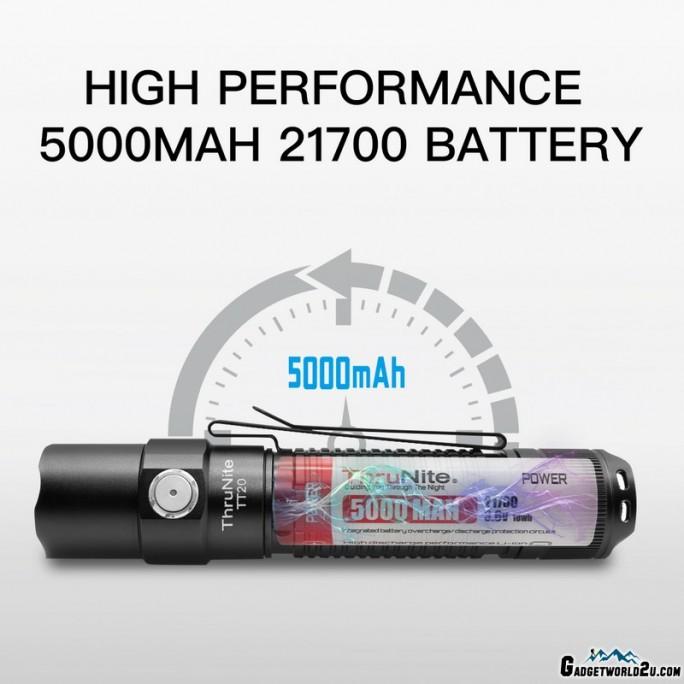 ThruNite TT20 Luminus SST70 CW LED 2526L Rechargeable Flashlight BLACK