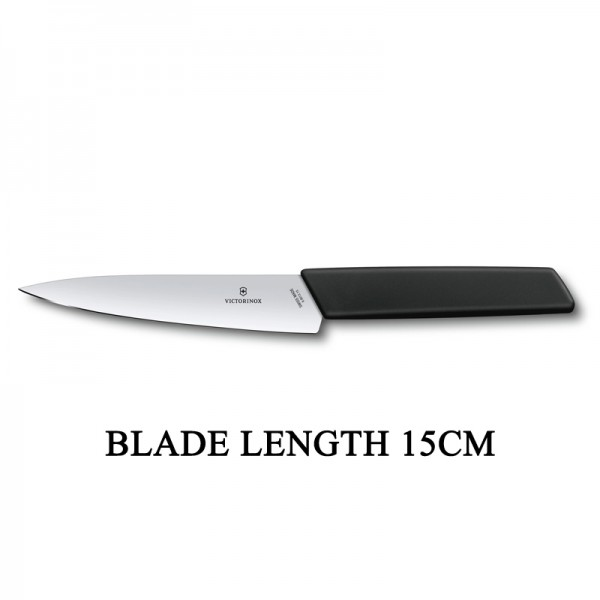 Victorinox Swiss Modern 15cm Office Knife Slim Kitchen Knife Black 6.9013.15B