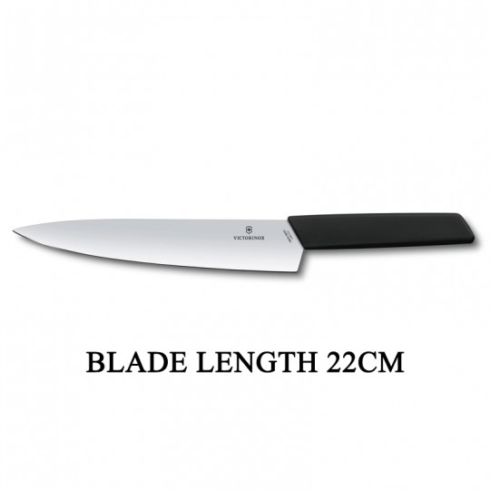Victorinox Swiss Modern 22cm Butcher Meat Carving Knife Black 6.9013.22B