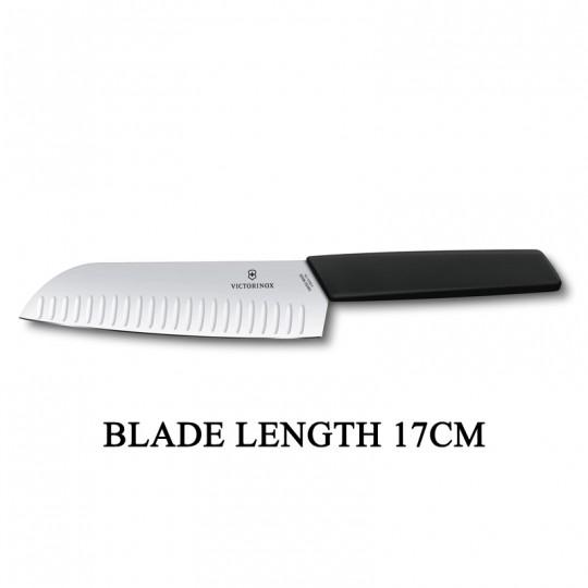 Victorinox Swiss Modern 17cm Santoku Meat Vegetable Fish Knife Black 6.9053.17KB