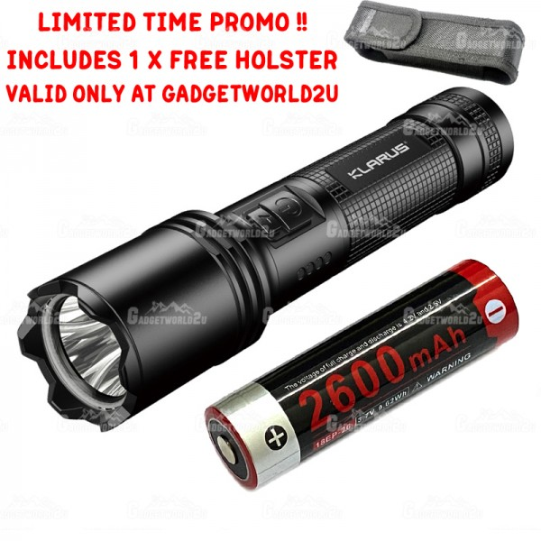 Klarus A1 10W High-Efficiency LED 1100L Rechargeable Flashlight + FREE 1 x HOLSTER