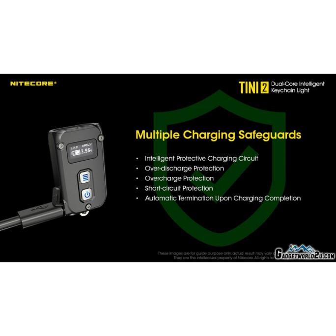 Nitecore TINI 2 Grey 500L USB Rechargeable Keychain Flashlight