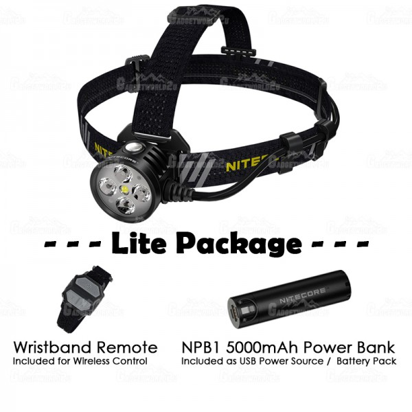 Nitecore HU60 CREE LED 1600L Wireless Wristband Control USB Powered Headlamp LITE PACKAGE