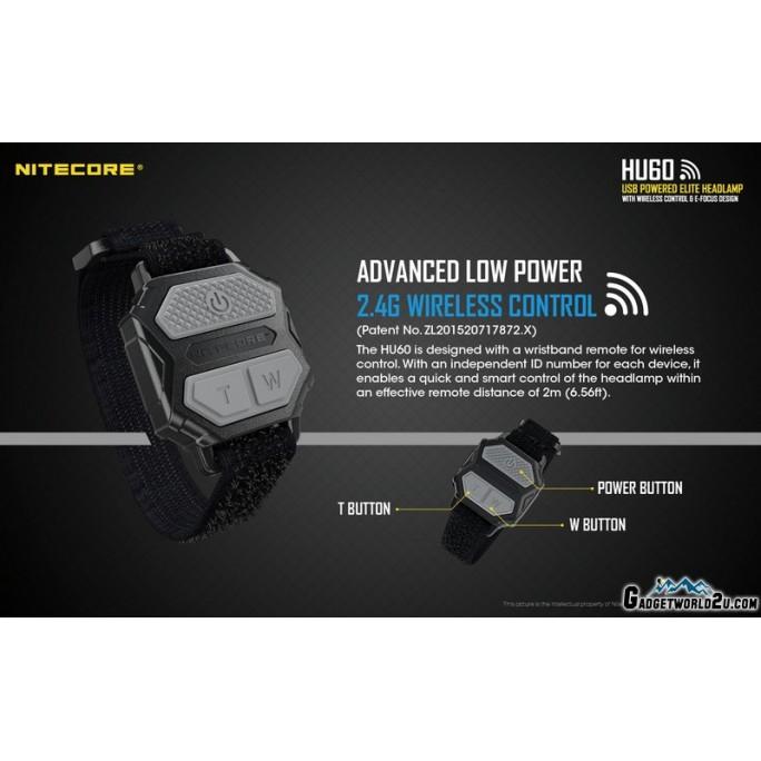 Nitecore HU60 CREE LED 1600L Wireless Wristband Control USB Powered Headlamp LITE PACKAGE