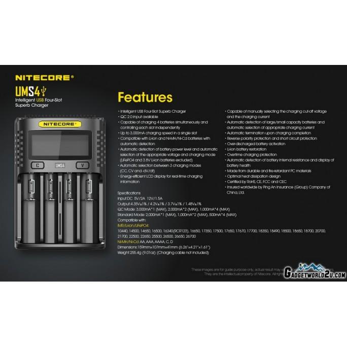 Nitecore UMS4 Intelligent USB QC 3A Charging Four-Slot Li-ion NiMH Battery Charger