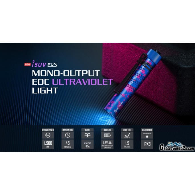 Olight I5UV EOS Mono-Output EDC 365nm UltraViolet UV LED Flashlight