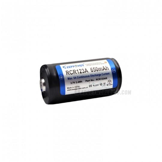 Keeppower RCR123 16340 5A 3.7V 650mAh Protected Rechargeable Li-ion Battery (RCR123AR)
