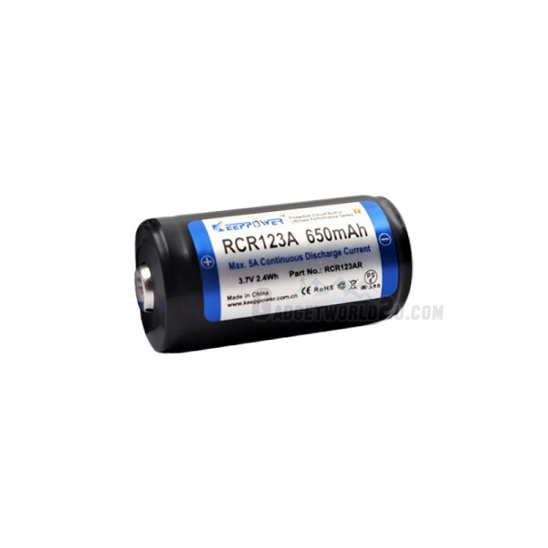 Keeppower RCR123 16340 5A 3.7V 650mAh Protected Rechargeable Li-ion Battery (RCR123AR)