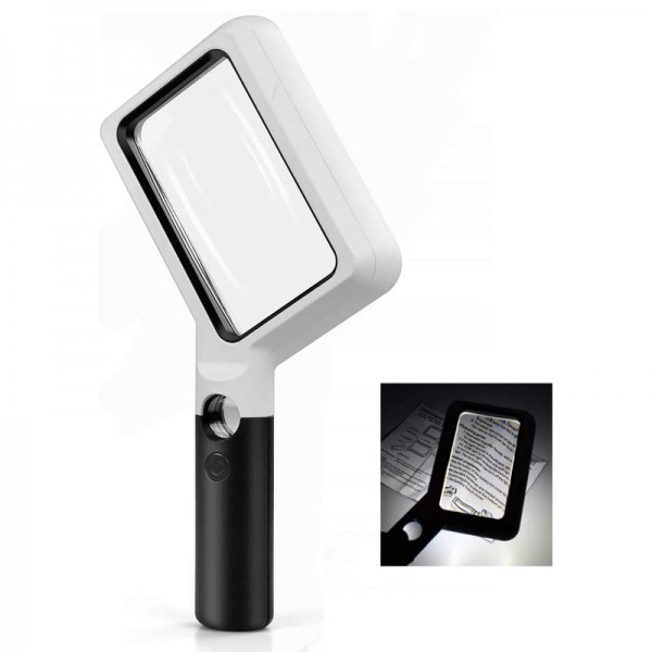 COB LED Handheld Rectangular 2x / 20x Lighted Reading Magnifier Magnifying Glass
