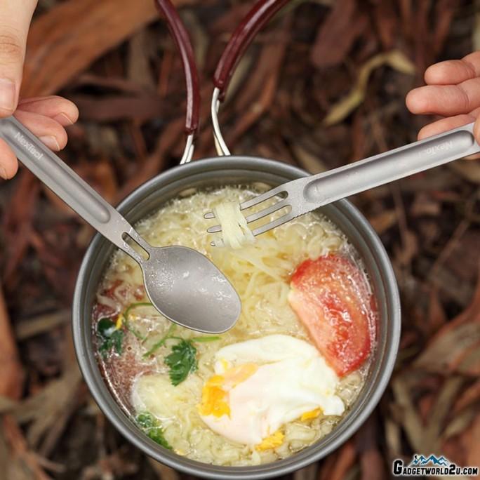 NexTool Titanium Cutlery Set KT5525 Camping Tableware Spoon Fork