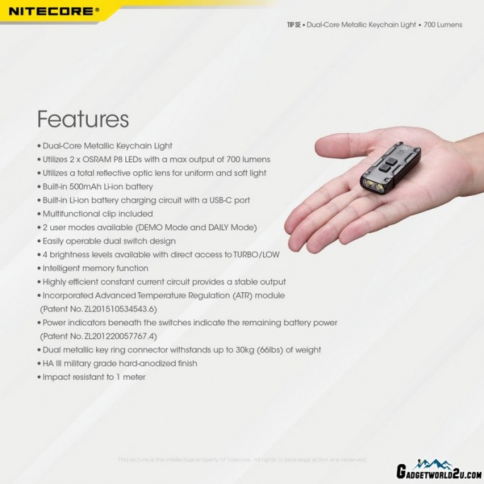 Nitecore TIP SE BLACK OSRAM P8 LED 700L Keychain Rechargeable Flashlight