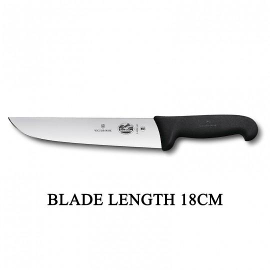 Victorinox Fibrox 18cm Wide Straight Rigid Slaughter Butcher Knife 5.5203.18