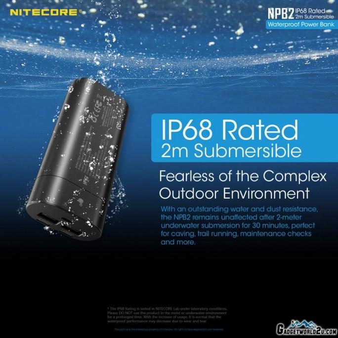 Nitecore NPB2 Waterproof IP68 Quick-Charge USB 10000mAh Power Bank