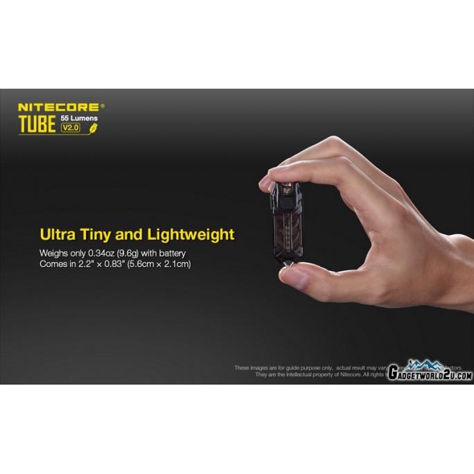 Nitecore TUBE V2.0 Transparent Red LED Keychain 55L Rechargeable Flashlight
