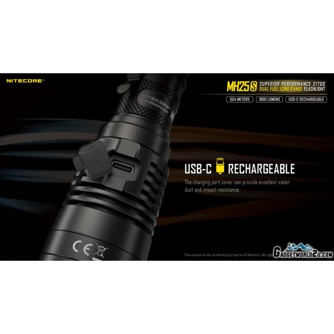 Nitecore MH25S Luminus SST-40-W LED USB Rechargeable 1800L LED Flashlight