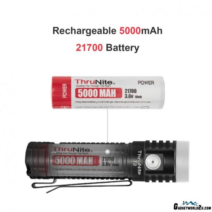ThruNite T2 Black CREE XHP70 CW LED 3757L USB Rechargeable Flashlight