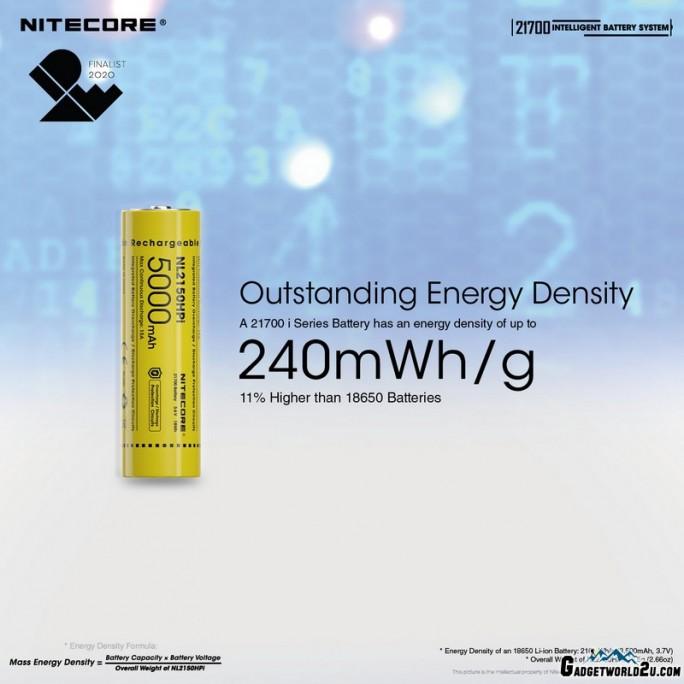 Nitecore 21700 Intelligent Battery System (ML21 Magnetic Light + NL2150HPi Rechargeable Li-ion Battery + MPB21 Magnetic Power Bank)