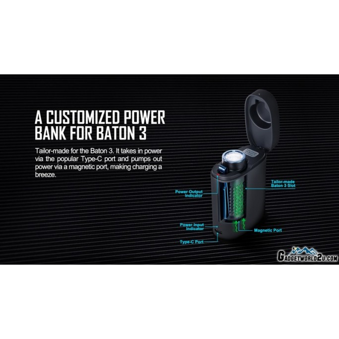 Olight Baton 3 Premium Edition Black Rechargeable LED 1200L Flashlight with Charging Case