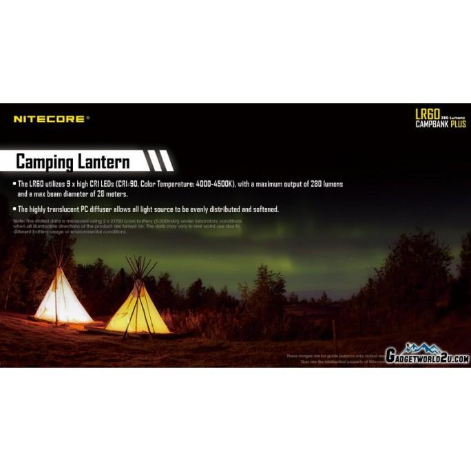 Nitecore LR60 Campbank Plus Camping Lantern Power Bank Battery Charger