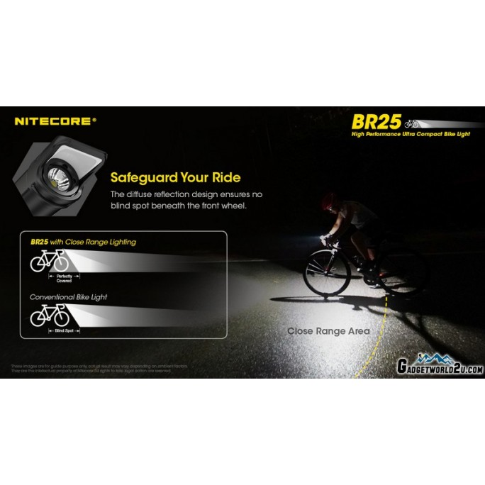 Nitecore BR25 1400L High Performance Ultra Compact USB Rechargeable Bicycle Light Bike Light