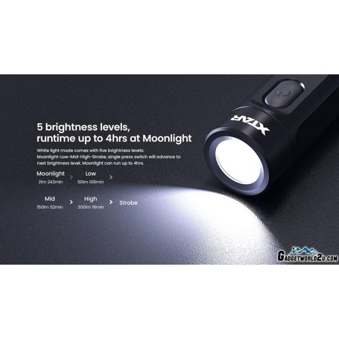 Xtar T1 CREE XP-G3 LED & Red/Green/Blue LED Multipurpose Keychain Flashlight