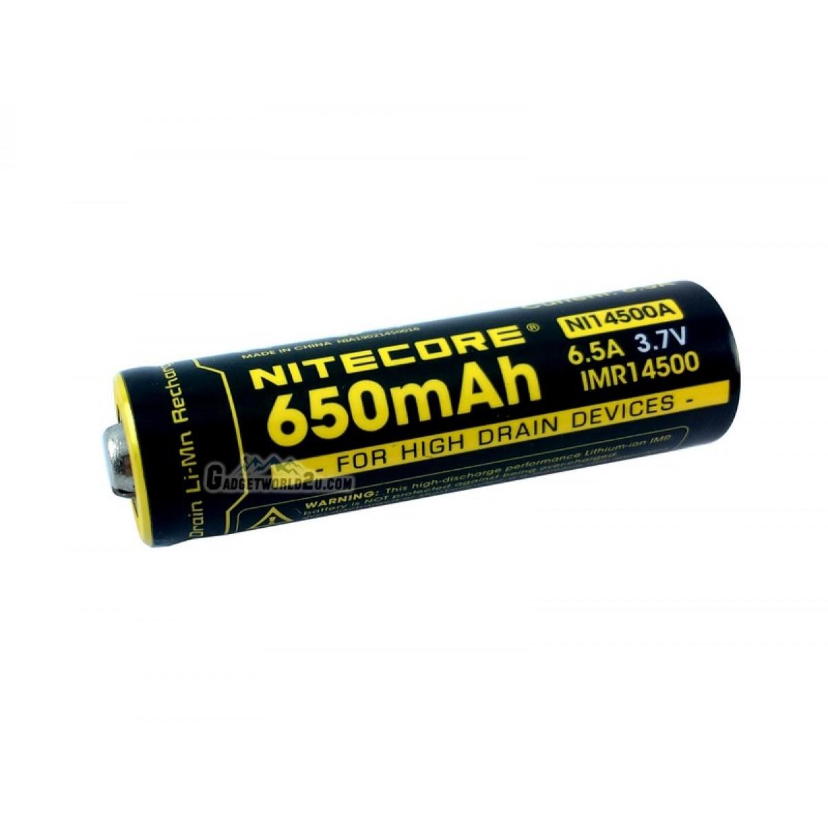 Nitecore IMR 14500 3.7V 650mAh Li-ion Rechargeable Battery (NL14500A)