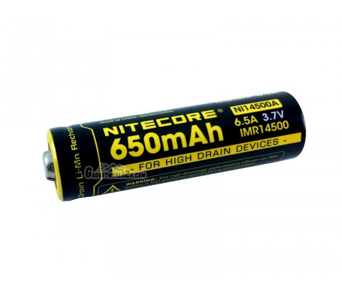 NITECORE IMR 14500 3.7V 650mAh Li-ion Rechargeable Battery, camping, outdoor, adventure, hiking, battery, rechargeable, lightweight, convenient