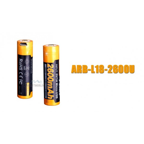 Fenix 18650 3.6V 2600mAh Micro-USB Li-ion Rechargeable Battery (ARB-L18-2600U)