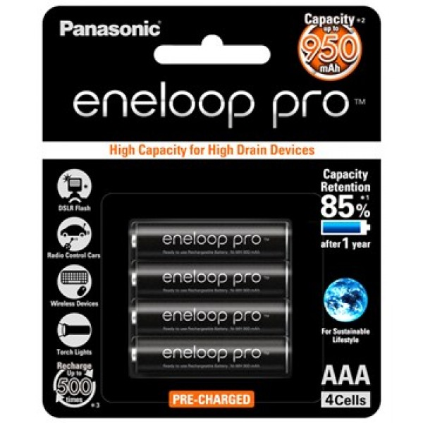 Panasonic Eneloop Pro AAA x4 950mAh NiMH Rechargeable Battery Japan