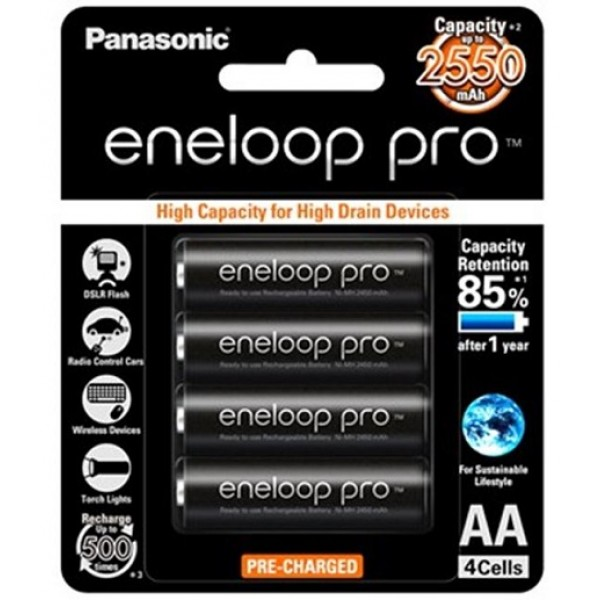 Panasonic Eneloop Pro AA x4 2550mAh NiMH Rechargeable Battery Japan