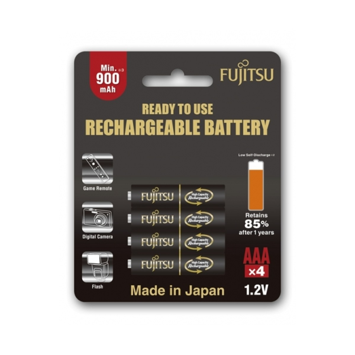 Fujitsu AAA x4 950mAh NiMH 500 Cycle Rechargeable Battery Japan