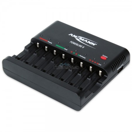 Ansmann Powerline 8 Charger - 8 Bay for NiMh or NiCD Rechargeable Batt
