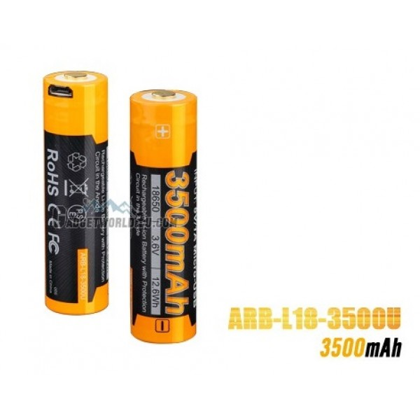 Fenix 18650 3.6V 3500mAh Micro-USB Charge Li-ion Rechargeable Battery